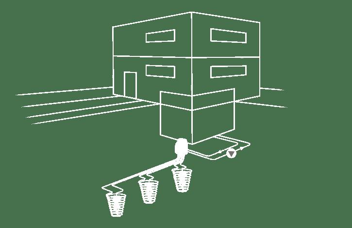 Schema M-TEC Erdwärmepumpe mit Erdwärmekorb