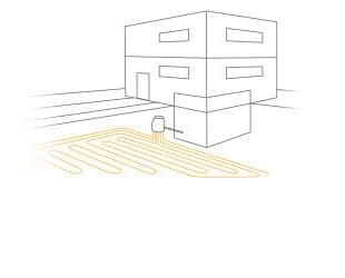 Schema M-TEC Erdwärmepumpe mit Flächenkollektor