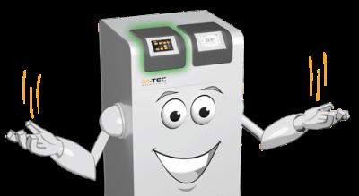Comicfigur Wärmepumpe mit E-SMART Energiemanagement