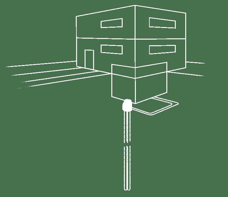 Schema M-TEC Erdwärmepumpe mit Sole-Tiefenbohrung