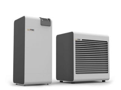 Luftwärmepumpe und Verdampfer der M-TEC Luftwärmepumpe Split